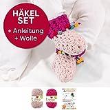Häkel-Set DIY Babyschuhe inkl. einfacher Häkelanleitung + natürlicher Wolle (vegan), Geburt, Geschenk, Baby, Handarbeit Farben: (magenta, hautfarbe, ohne Nadel)