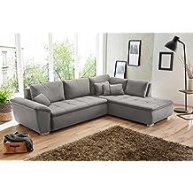Sofa, Ecksofa, Sofaecke, Polsterecke, Eckcouch, Couchgarnitur, Polstergarnitur, Eckgarnitur, Schlaffunktion, Bettkasten, grau, Feinstrukturstoff