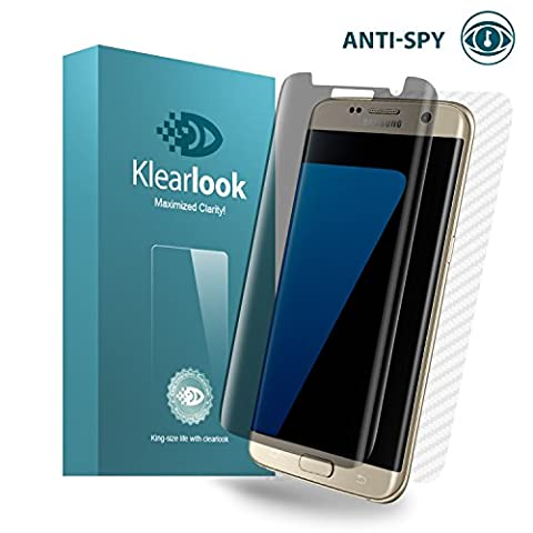Galaxy S7 Edge Panzerglas, Klearlook S7 Edge Displayschutzfolie, Privacy Schutz   Anti Spy Schutzfolie, Hülle Freundlich, 9H Anti Kratz, 1x Bildschirm Harterglas, Gabe: 1x Rückseit Kohlefaser,