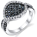 Revoni Pave Set Black and White CZ Sterling Silver Rhodium Finish Ring