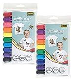 Idena 60035 - Textilmarker für helle Stoffe, 2x 10er Set (2x 10 Farben)