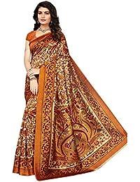 Ishin Poly Silk/Synthetic Silk Beige Printed Women's Saree/Sari