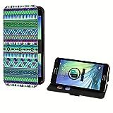 deinPhone Samsung Galaxy S5 Mini Kunstleder Flip Case Zick Zack Muster Grün