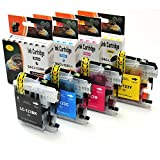 D&C ink cartridges 4er-Set LC-123 XL-Patronen Tinte kompatibel Brother MFC-J245