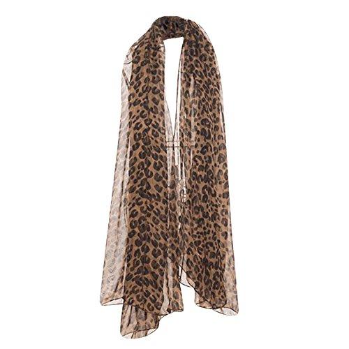 Qiao Nai(TM Mujeres Sexy Leopardo Pañuelo de Gasa Clásico Moda Bufanda