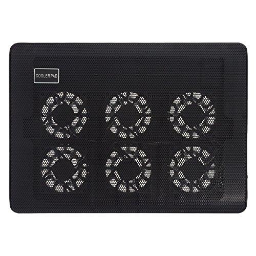 """Smartfox USB Laptop Notebook Kühler Lüfter Cooler Ständer Cooling Pad für 10 - 15"""" Zoll Geräte mit 6 einstellbaren Ventilatoren und blauer LED Beleuchtung"""