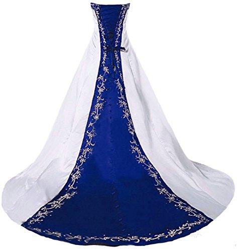 Vantexi Damen Trägerloses Stickerei Brautkleid Hochzeitskleider Weiß Blau 38
