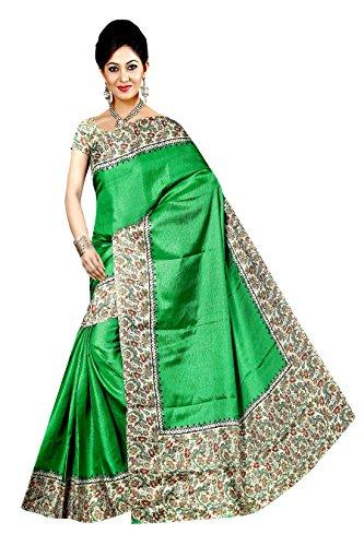 Winza Designer Cotton Saree With Blouse Piece (MANIPURI 11004_Fancy Green_Free)