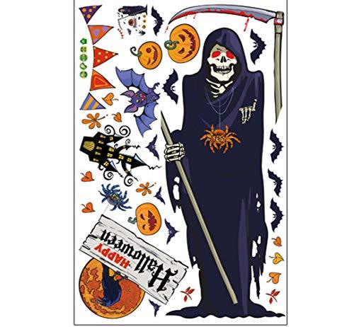 e Wand Aufkleber Kürbis Hexe Fledermaus Dekorative Wand Aufkleber Fenster Bar Cafe Halloween Tapete (Alle 3 Kombinationen),5 ()