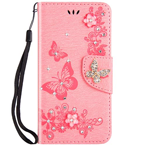 JAWSEU Schutzhülle Flip kompatibel mit iPhone 6 Plus/6S Plus PU Leder Wallet Cover Bling Sparkly Bling Pink