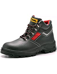Mens Safety Boots S3 Steel Toe Cap Work Shoes Ankle Leather Steel Mid Sole Protection Black Hammer 5993