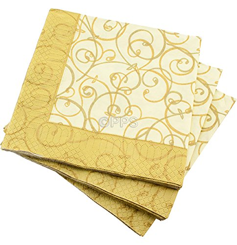 20 LUXURY 3 PLY GOLD LEAF PATTERN PAPER NAPKINS - 33cm x 33cm Ideal for weddings, christenings, parties, bbq's etc FREE DELIVERY