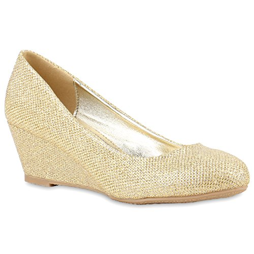 Damen Keilpumps Glitzer Wedges Party Pumps Leder-Optik Schleifen Strass Velours Abend Keilabsatz Schuhe 121191 Gold 38 Flandell