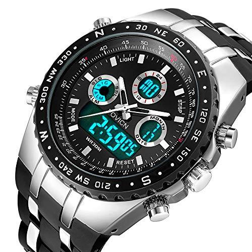 Herren Digitale Sportuhr Militär großes Gesicht Wasserdicht Analog Uhr Stoppuhr Armee Stoßfest LED Hintergrundbeleuchtung Casual Armbanduhr für Männer Schwarz