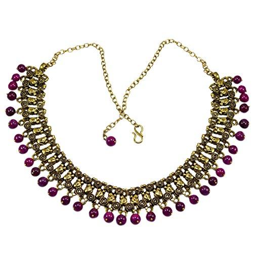 silvestoo Indien Jade pink Halskette Messing pg-114128