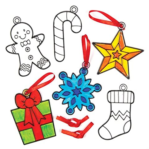 Christmas Shapes Suncatcher Hanging Decoration Set for Children to Colour-in - Make Your Own Creative Craft Toy Kit for Kids (Pack of