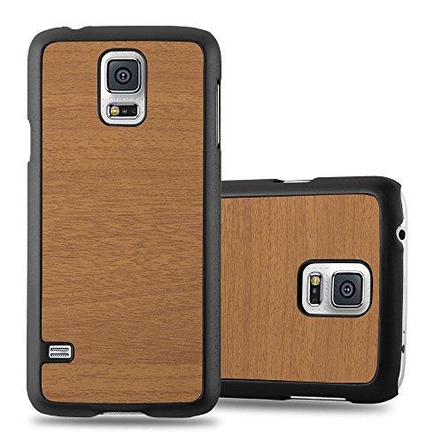 Preisvergleich Produktbild Cadorabo Hülle für Samsung Galaxy S5 Mini / S5 Mini DUOS - Hülle in Woody BRAUN – Hardcase Handyhülle in Vintage Holz Optik - Schutzhülle Bumper Back Case Cover