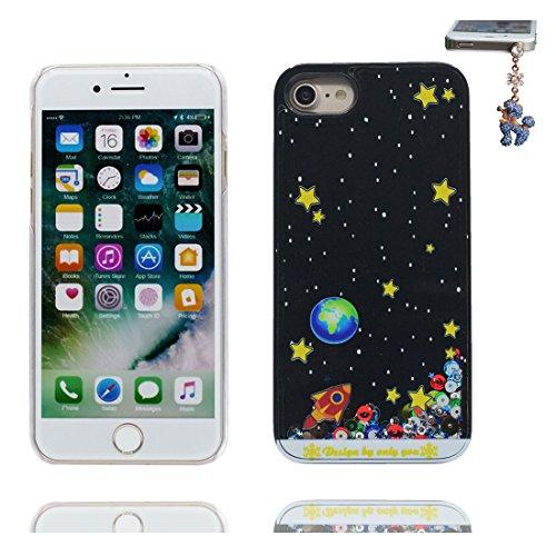 iPhone 6 Custodia, Bling Glitter ultra sottile / Case iPhone 6s Copertura / Shock Dust Resistant Shell iPhone 6 Cover 4.7 & tappi antipolvere / Fiore di prugne fiore Nero 1