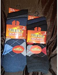 "Winter thermal socks for MEN_""DARK/ARGYLE"" pack of 6 PAIRS"