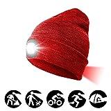 ATNKE 8LED Cappello a Maglia con fari, USB Ricaricabile Lampada da Corsa per proiettori Lampada a Luce ultraluminosa Impermeabile e Allarme Lampeggiante Fanale Posteriore Rosso Rosso