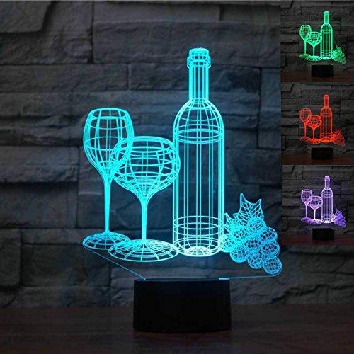 Jinson well 3D cup - flasche wein Lampe optische Illusion Nachtlicht, 7 Farbwechsel Touch Switch...