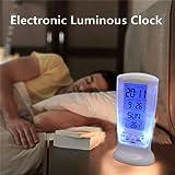 Demana LED elektronische Leuchtende Wecker,Schöner Uhr mit Musik Display Thermometer Wecker Batteriebetriebener und Lichtsensor (Weiß)