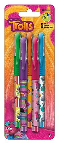 dreamworks-trolls-gel-pens-07mm-5-pkg-green-purple-orange-pink-blue