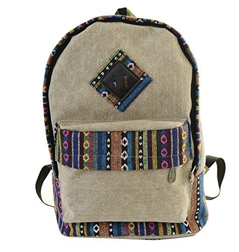Mädchen Canvas Schulrucksack Damen Kinder Vintage Rucksack Schule Freizeitrucksack Schultasche Daypack Khaki