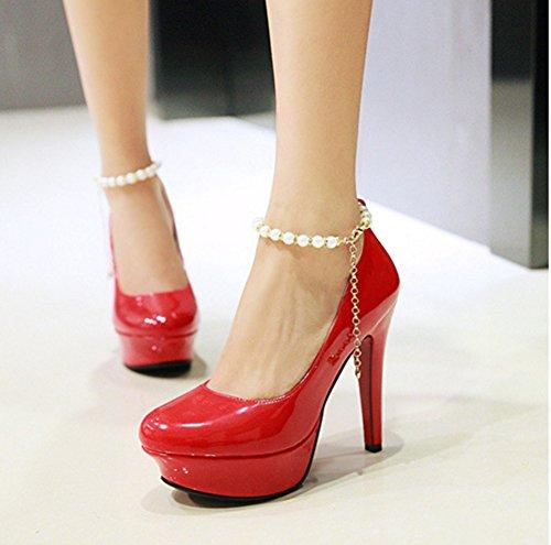 Aisun Damen Sexy Plateau Lack Künstlich Perlen Knöchelriemchen Hoher Absatz Pumps Rot
