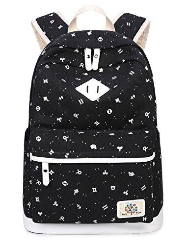 Bravoe Casual Schulrucksack Damen Canvas Rucksack Schule Daypacks Kinderrucksack für 14 Zoll Laptop College Backpack für Mädchen Studenten Schwarz (Vans Für Teenager-mädchen)