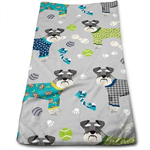 Schnauzers In Jammies Cute Dogs In Pajamas Pyjamas - and Blue Hand Towels Dishcloth Floral Linen Hand Towels Super Soft Extra Absorbent for Bath,Spa and Gym 12