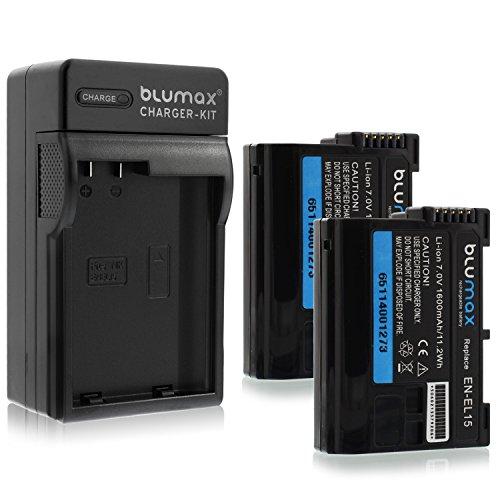 Blumax 2X Profi Akku 1600mAh + 1x Ladegerät für Nikon EN-EL15