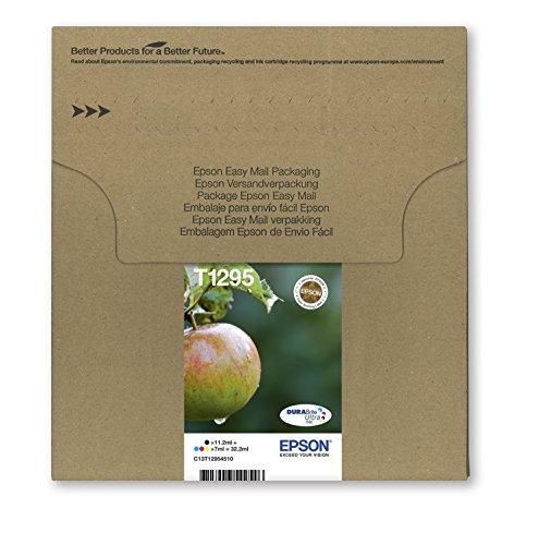 Encre d'origine EPSON Multipack Pomme T1295 : cartouches Noir, Cyan, Magenta et Jaune [Emballage « Déballer sans s'énerver par Amazon »]
