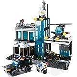 Modbrix Bausteine SWAT Polizei Kommandozentrale mit SWAT Mannschaftswagen, Polizei Hubschrauber und Minifiguren, 566 teiliges Konstruktionsspielzeug