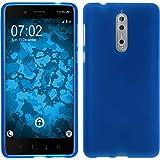 PhoneNatic Case für Nokia 8 Hülle Silikon blau matt Cover 8 Tasche Case