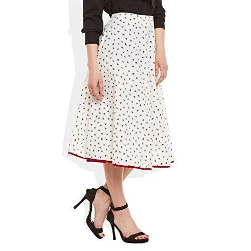 Womens Apparels Coton imprimé Longueur moyenne jupe A-Line Blanc noir