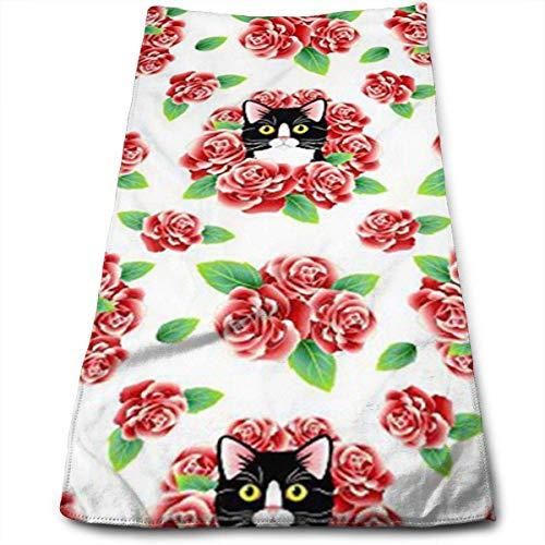 Osmykqe Tuxedo Cat and Roses Multifunktionstuch aus Mikrofaser mit hohem Saugvermögen -