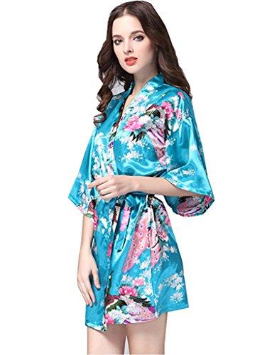 Fortuning's JDS Raso di seta del pavone e floreale Stile Breve stampato Kimono Robes per le donne Turquois
