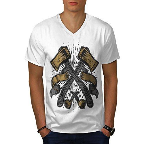 wellcoda Holzfällers AXT Männer M V-Ausschnitt T-Shirt