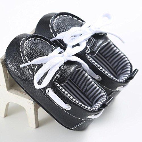 Hunpta Babymädchen oder junge Schnürung Leder Sneaker rutschfest weiche Sohle Kleinkind (Alter: 6 ~ 12 Monate, Blau) Schwarz