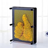 UPXIANG Art Pression Designs 3D Clone Handprint Toy, Novelty Antistress Clone Fingerprint Needle Painting, Plastic Pin Impression Hand Mold for Home and Office Desktop Sculpture - Christmas Kids Gift (Yellow)