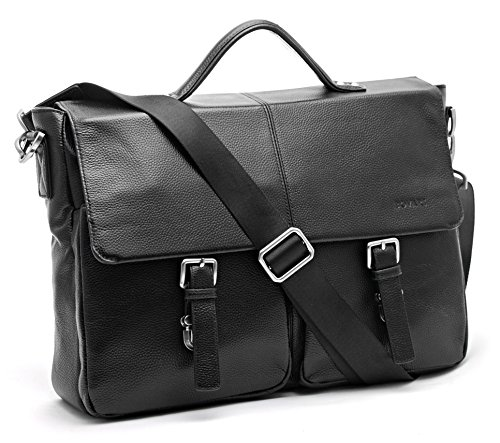 Bovari echt Leder Herren Schultertasche Aktentasche Laptop-Tasche Messenger Bag 39x30x10 cm Model Lyon - Größe L (schwarz classic) (Leder Body Messenger Cross)