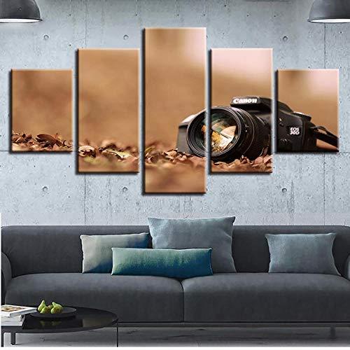 Arte de pared Decoración Dormitorio en casa 5 Piezas Negro Cámara Pinturas de paisajes Posters Lienzo modur Fotos Impresiones modernas Obras de arte_30x80cm