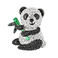 SELOVO Silver Tone Clear Black Rhinestones Cute Panda Bear with Green Bamboo Brooch Pin