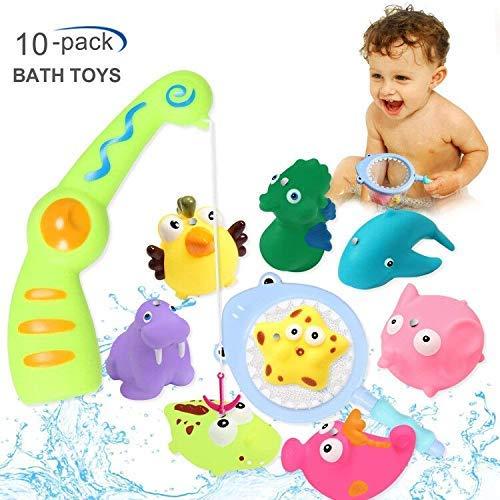 ACTRINIC 10pcs Baby Badespielzeug,Eine magnetische Sound-Angelrute,8 süße Tiere & EIN Fischernetz,Super Spaß im Badezimmer Poolbadzeit, Badewanne Spielzeug für 1 2 3-Jahre Mädchen Jungen Kleinkinder