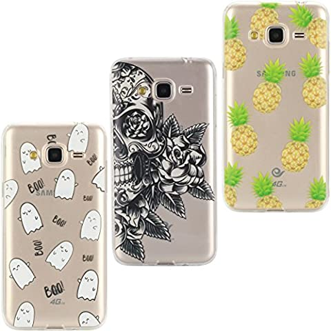 KANTAS 3 Pieces Soft Silicone Case for Samsung Galaxy J3 2016/J310 Transparent Clear Back Cover Flexible Grip Case Ultra Slim Fit Painting Design Slip Resistant Bumper Lightweight Case for Samsung Galaxy J3 2016, Skeleton/Funny Boo/Pineapple