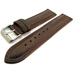 Brown Suede Leather Padded Watch Strap Band 18mm