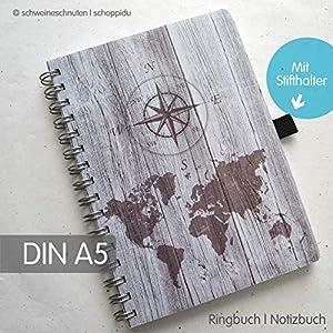 Ringbuch Notizbuch DIN A5 Vintage Holz Weltkarte