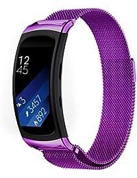 Reloj magnético, happytop acero inoxidable pulsera correa de muñeca relojes de repuesto para Samsung Gear Fit 2sm-r360, hombre, morado, S
