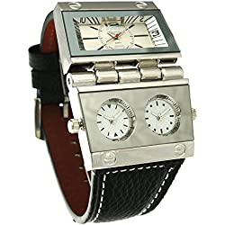ufengke® fashion creative multiple time zones rectangle scale strap wrist watch for men,white